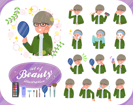 A set of businessman on beauty.There are various actions such as skin care and makeup.Its vector art so its easy to edit.