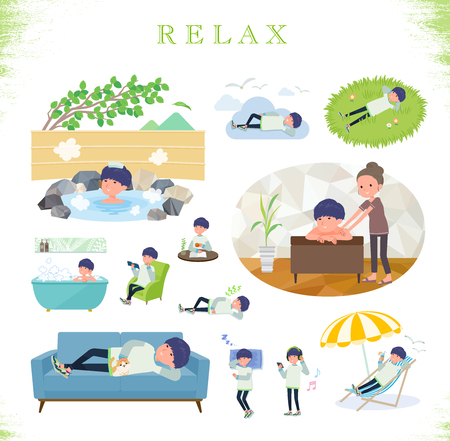 A set of young man about relaxing.There are actions such as vacation and stress relief.It's vector art so it's easy to edit.