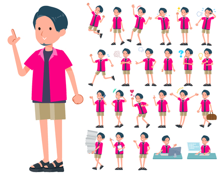 A set of young man with who express various emotions.There are actions related to workplaces and personal computers.It's vector art so it's easy to edit.