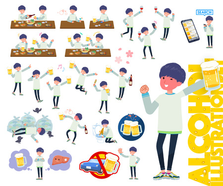 A set of young man related to alcohol.There is a lively appearance and action that expresses failure about alcohol.It's vector art so it's easy to edit. 写真素材 - 124041532