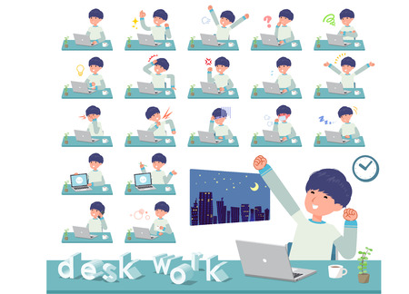 A set of young man on desk work.There are various actions such as feelings and fatigue.It's vector art so it's easy to edit. Stock Vector - 119989963