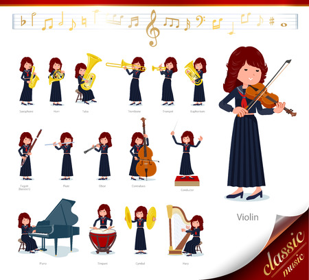 A set of japan school girl on classical music performances.There are actions to play various instruments such as string instruments and wind instruments.It's vector art so it's easy to edit.