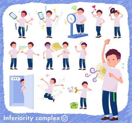 A set of young man on inferiority complex.There are actions suffering from smell and appearance.It's vector art so it's easy to edit.