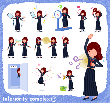 A set of japan school girl on inferiority complex.There are actions suffering from smell and appearance.Its vector art so its easy to edit.