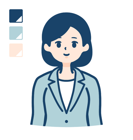 A young Business woman in a suit with upper body image.It's vector art so it's easy to edit.