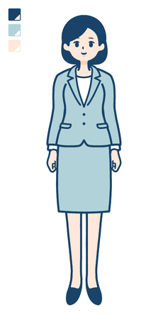 A young Business woman in a suit with full length image.It's vector art so it's easy to edit.