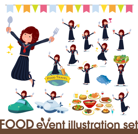 A set of japan school girl on food events.There are actions that have a fork and a spoon and are having fun.It's vector art so it's easy to edit.
