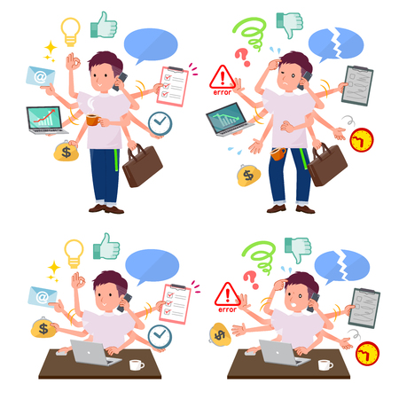 A set of young man who perform multitasking in the office.There are things to do smoothly and a pattern that is in a panic.It's vector art so it's easy to edit.