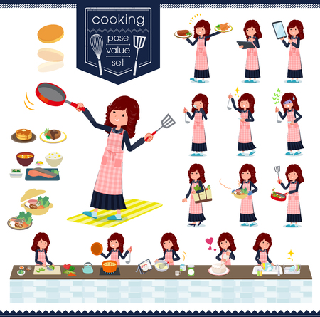 A set of japan school girl about cooking.There are actions that are cooking in various ways in the kitchen.It's vector art so it's easy to edit.