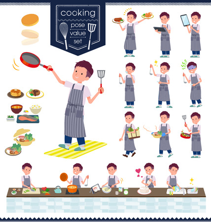 A set of young man about cooking.There are actions that are cooking in various ways in the kitchen.It's vector art so it's easy to edit.