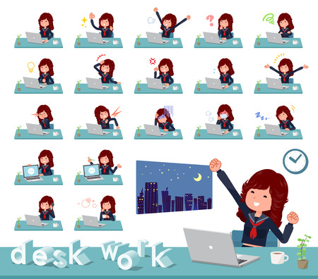 A set of japan school girl on desk work.There are various actions such as feelings and fatigue.Its vector art so its easy to edit.