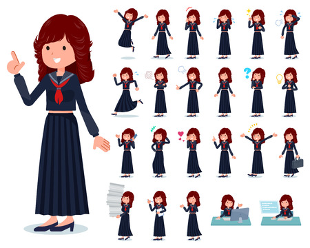 A set of japan school girl with who express various emotions.There are actions related to workplaces and personal computers.It's vector art so it's easy to edit.