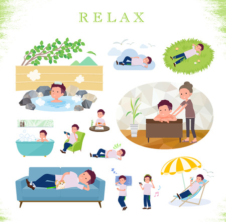 A set of young man about relaxing.There are actions such as vacation and stress relief.Its vector art so its easy to edit.