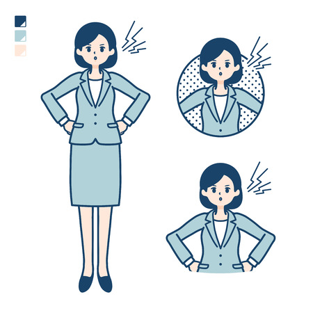 A young Business woman in a suit with anger images.