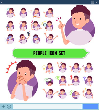 A set of young man with expresses various emotions on the SNS screen.There are variations of emotions such as joy and sadness.Its vector art so its easy to edit.