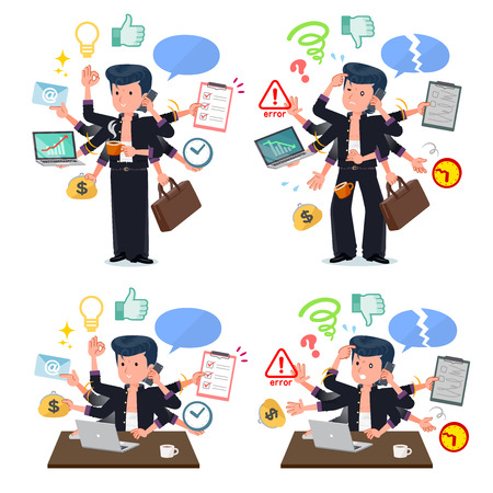 Bad boy student who perform multitasking in the office.There are things to do smoothly and a pattern that is in a panic.It's vector art so it's easy to edit.