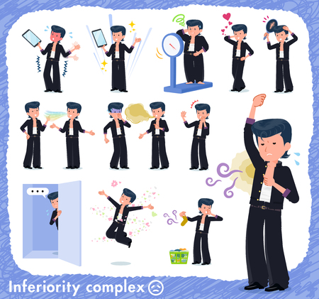 Bad boy student on inferiority complex.There are actions suffering from smell and appearance.Its vector art so its easy to edit. Çizim