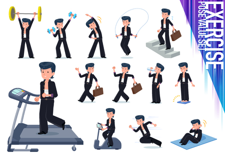 Bad boy student on exercise and sports.There are various actions to move the body healthy.It's vector art so it's easy to edit.