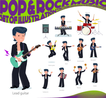 Bad boy student playing rock 'n' roll and pop music.There are also various instruments such as ukulele and tambourine.It's vector art so it's easy to edit. Stock Illustratie