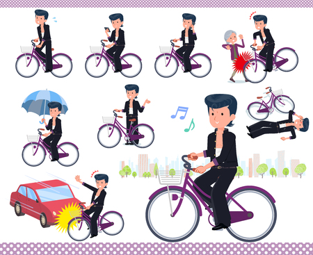 Bad boy student riding a city cycle.There are actions on manners and troubles.It's vector art so it's easy to edit.  イラスト・ベクター素材