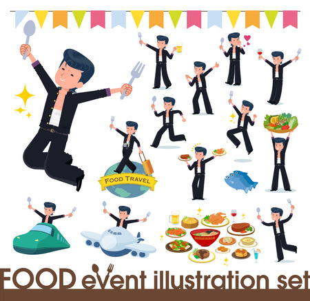 Bad boy student on food events.There are actions that have a fork and a spoon and are having fun.It's vector art so it's easy to edit.