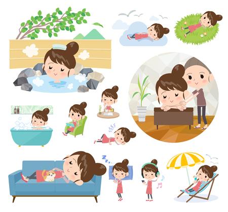 Eine Reihe von Mama zum Entspannen. Es gibt Aktionen wie Urlaub und Stressabbau. Es handelt sich um Vektorgrafiken, die leicht zu bearbeiten sind.