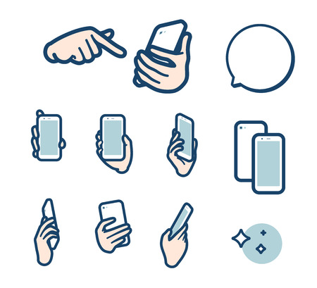 Illustration set of Have a smartphone. Its vector art so its easy to edit.