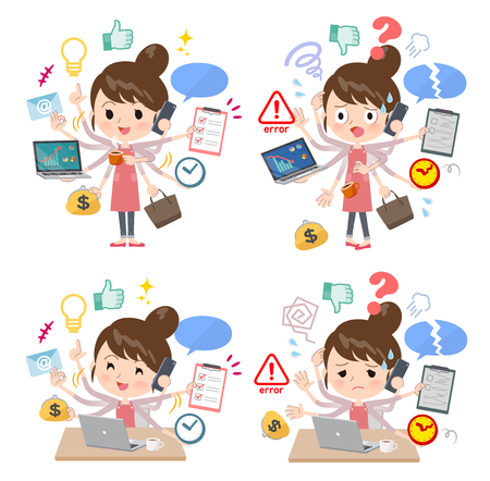A set of mom who perform multitasking in the office.There are things to do smoothly and a pattern that is in a panic.Its vector art so its easy to edit.