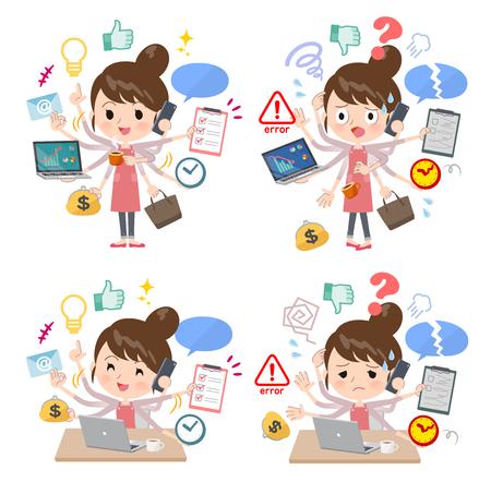 Un ensemble de mamans qui effectuent du multitâche au bureau. Il y a des choses à faire en douceur et un motif qui panique. C'est de l'art vectoriel donc c'est facile à éditer.