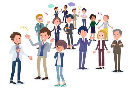 It is an image of people in the office communicating.It is a composition with depth.It's vector art so it's easy to edit. Vector Illustration