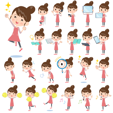 A set of mom with digital equipment such as smartphones.There are actions that express emotions.Its vector art so its easy to edit.  Illustration