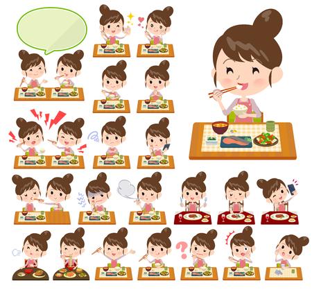 Eine Reihe von Mama über Mahlzeiten. Japanische und chinesische Küche, Gerichte im westlichen Stil und so weiter. Es handelt sich um Vektorgrafiken, die leicht zu bearbeiten sind. Vektorgrafik