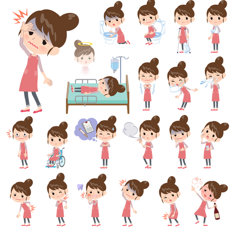 A set of mom with injury and illness.There are actions that express dependence and death.Its vector art so its easy to edit.