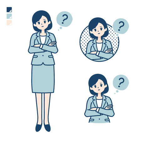 A young Business woman in a suit with Question images.