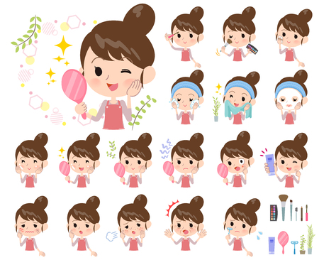 A set of mom on beauty.There are various actions such as skin care and makeup.It's vector art so it's easy to edit.