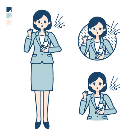 A young Business woman in a suit with Holding a smartphone and anger images. Its vector art so its easy to edit.