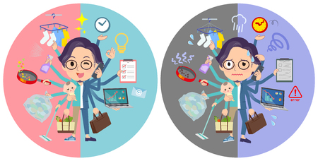 A set of men who perform multitasking in offices and private.There are things to do smoothly and a pattern that is in a panic.Its vector art so its easy to edit.