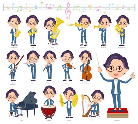 Un insieme di uomini su spettacoli di musica classica.Ci sono azioni per suonare vari strumenti come strumenti a corda e strumenti a fiato.È arte vettoriale quindi è facile da modificare. Vettoriali