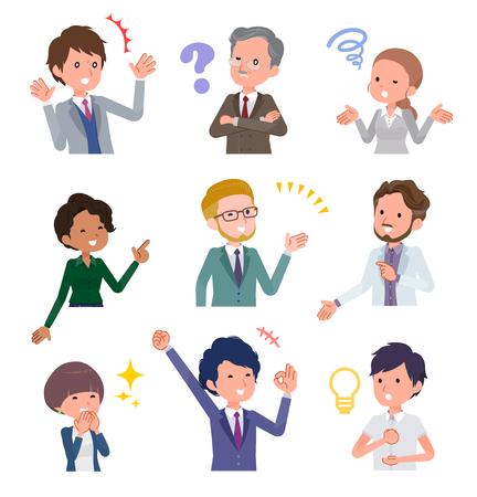 È un'immagine di una serie di domande e soluzioni da parte di persone in ufficio. È un'arte vettoriale, quindi è facile da modificare. Vettoriali