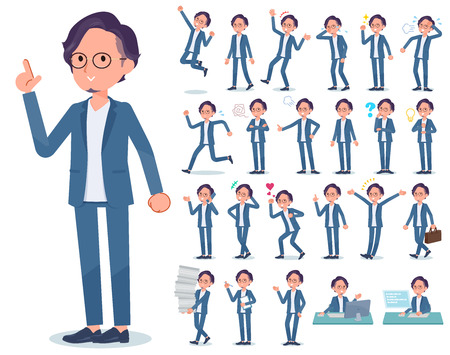 A set of businessman with who express various emotions.There are actions related to workplaces and personal computers.Its vector art so its easy to edit.  Illusztráció