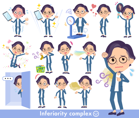 A set of men on inferiority complex.There are actions suffering from smell and appearance.Its vector art so its easy to edit. Иллюстрация