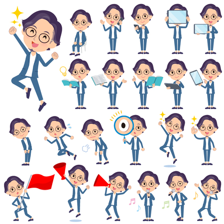 A set of men with digital equipment such as smartphones.There are actions that express emotions.It's vector art so it's easy to edit.