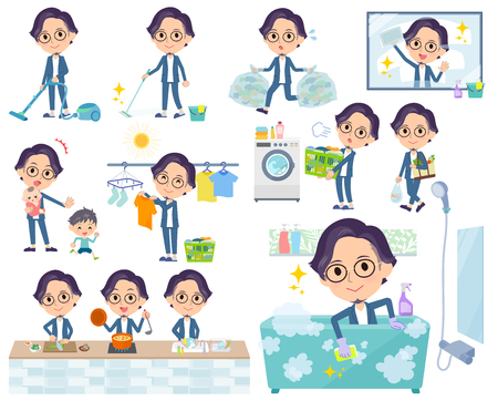 A set of men related to housekeeping such as cleaning and laundry.There are various actions such as cooking and child rearing.It's vector art so it's easy to edit.