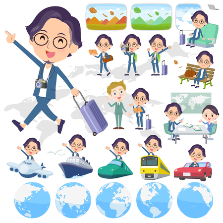 A set of men on travel.There are also vehicles such as boats and airplanes.Its vector art so its easy to edit.