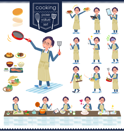 A set of businessman about cooking.There are actions that are cooking in various ways in the kitchen.Its vector art so its easy to edit.