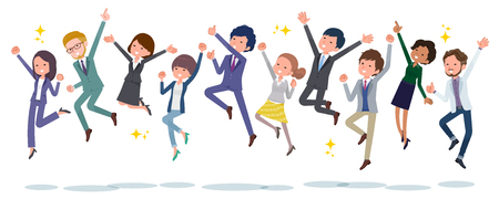 It is an image that people in the office are jumping.It is a composition side by side.Its vector art so its easy to edit.