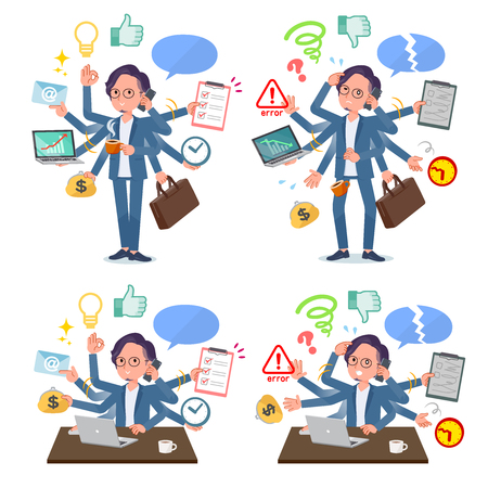 A set of businessman who perform multitasking in the office.There are things to do smoothly and a pattern that is in a panic.Its vector art so its easy to edit.