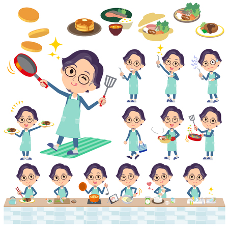 A set of men about cooking.There are actions that are cooking in various ways in the kitchen.Its vector art so its easy to edit. Ilustrace
