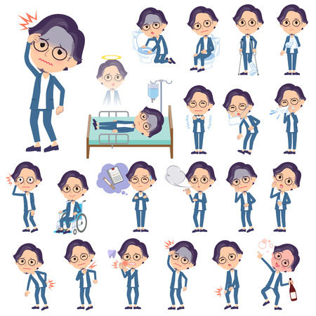 A set of men with injury and illness.There are actions that express dependence and death.It's vector art so it's easy to edit.