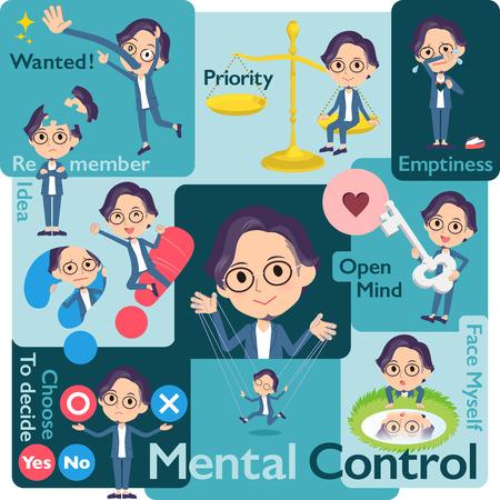 Un conjunto de hombres que controlan las emociones. Una variedad de ilustraciones de imágenes que expresan sus propias emociones. Es arte vectorial, por lo que es fácil de editar. Ilustración de vector
